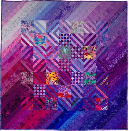 """Lavender, Heliotrope, Hyacinth, Iris""  2004 by Pamela Zave.  Includes blocks of floral fabrics."