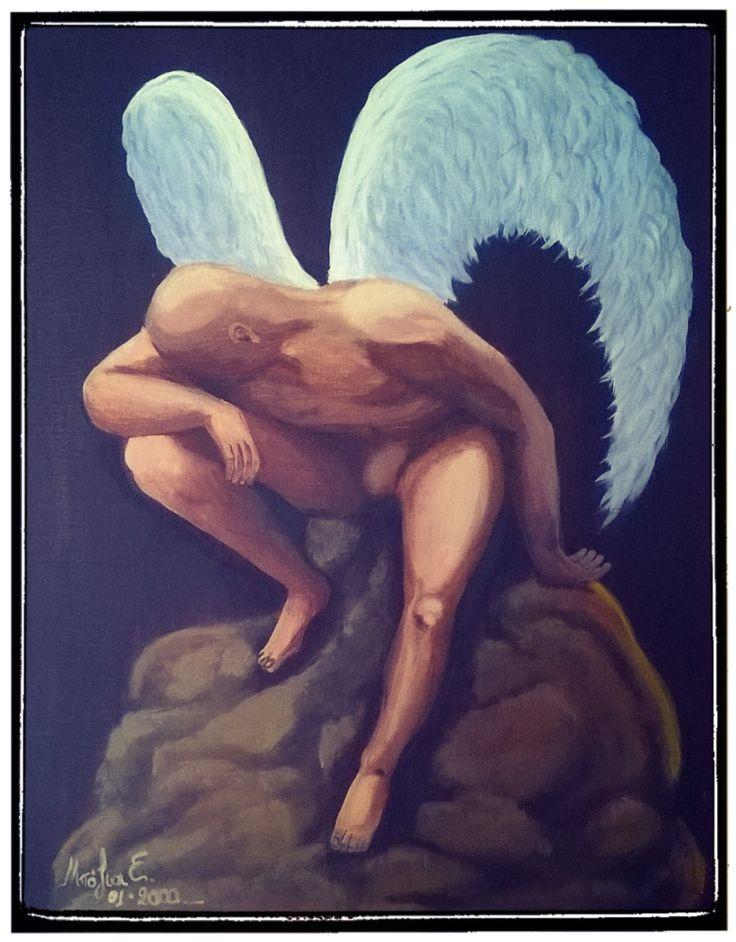 Ο άγγελος μου είναι θλιμμένος . Μικτή τεχνική https://www.facebook.com/efiboziaart/