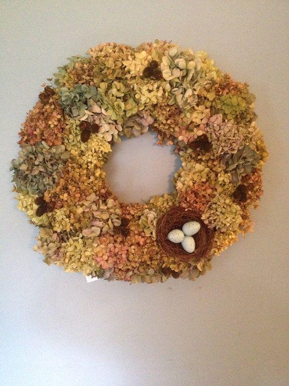 Hydrangeas Wreath by RebeccaWattsDesigns on Etsy, $65.00