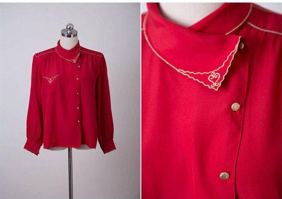 SALE  Vintage 1960s Blouse / 60s Retro Red Gold Collar Blouse