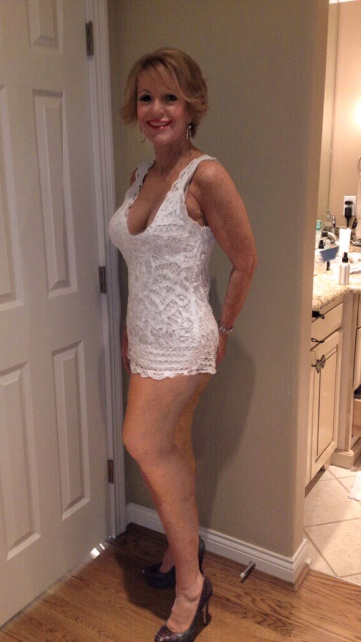 Old granny in mini skirt