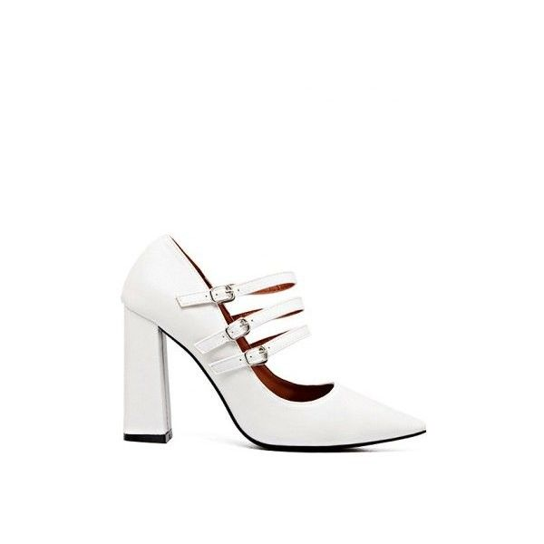 White Buckles Pointed Toe Chunky Heel Pumps (72 BAM) ❤ liked on Polyvore featuring shoes, pumps, chunky heel shoes, white court shoes, pointy-toe pumps, thick-heel pumps and white shoes