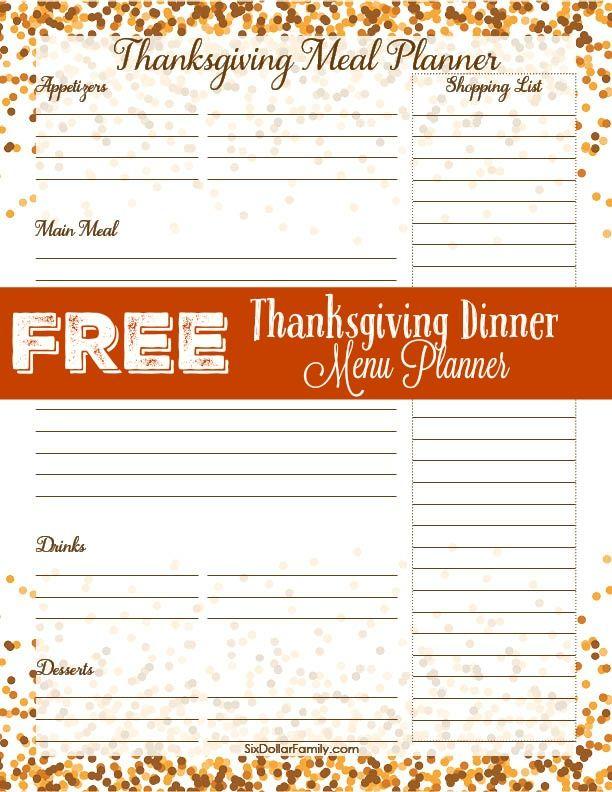 dinner menu planner printable