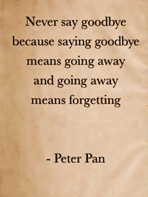 """""""never say goodbye because saying goodbye means going away and going away means forgetting."""" ~Peter Pan"""