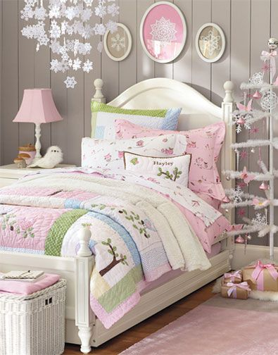 pottery Barn kids, like the wall color, framed doileys with painted background-I'm sure I could find ways to create this look at home without breaking the bank, and it would be fun!! Hoozah!