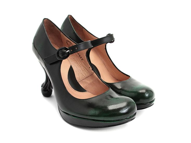 The Queen Transcendent Elizabeth  - Fluevog. Delight that Fluevog is producing size 5 shoes again! Delight and sorrow that this pair is sold out in that size. LOOK AT THAT GREEN DEGRADE. LOOK AT THOSE HEELS.