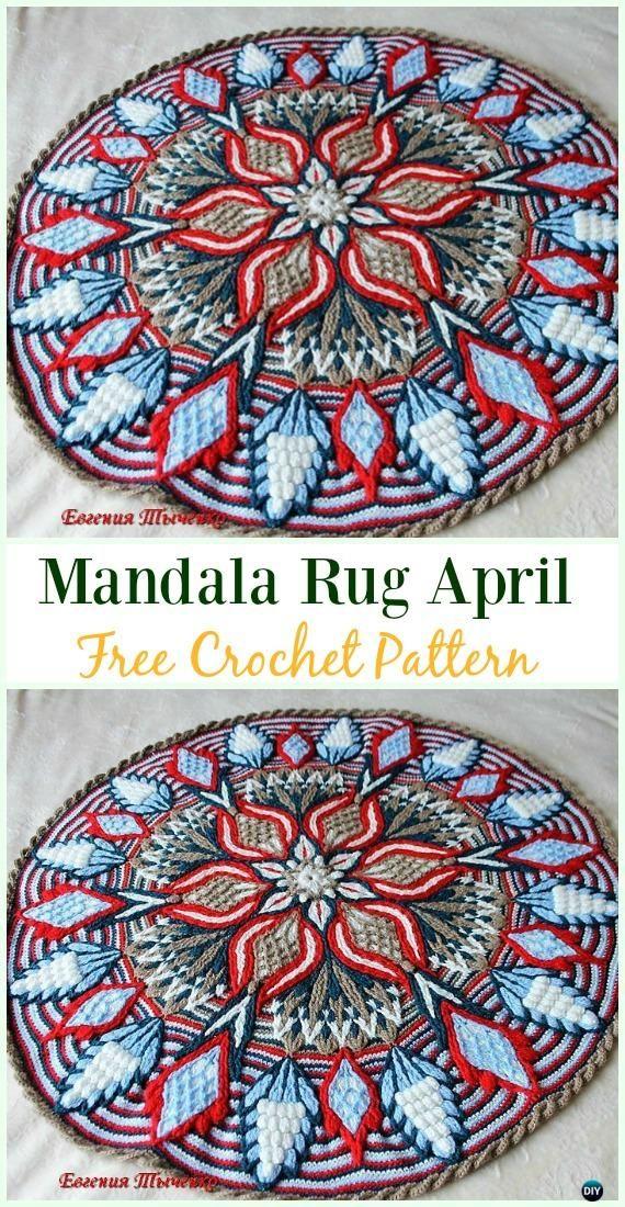Crochet Mandala Rug April Free Pattern Crochet Area Rug Ideas Free Patterns Crochet Rug Patterns Free Crochet Rug Patterns Crochet Mandala Pattern