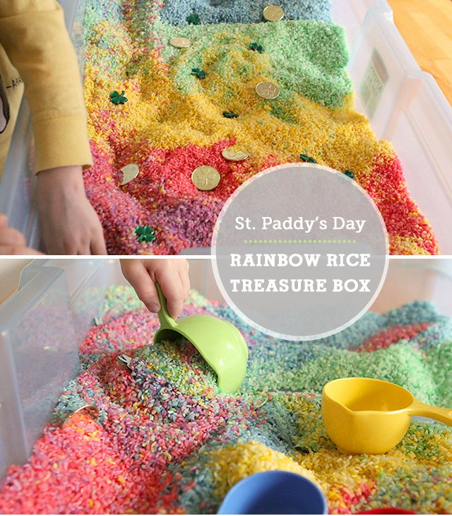 This rainbow rice sensory box is great for St. Patrick's day but my kids love to play with it everyday!: Activities Toddler, Play, Sensory Boxes, Treasure Boxes, Rice Treasure, Rainbow Rice, Messy Kids, Modern Parents, Rice Sensory