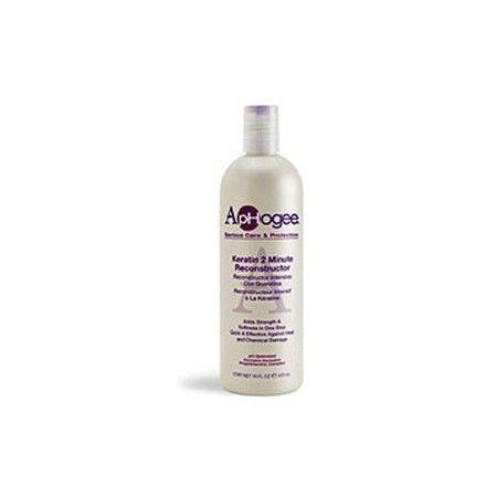 Keratine 2 Minute Reconstructeur Intensif - Keratin 2 Minute Reconstructor - ApHogee. Il est recommandé entre autres sur les cheveux teints, décolorés ou défrisés.  Reconstructeur intensif à la Kératine. Renforce & adoucit en une seule étape. Rapide et efficace contre la chaleur et les dommages causés par les traitements chimiques.