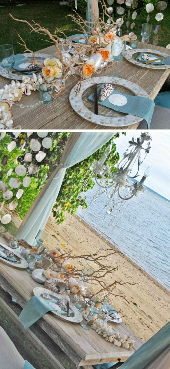 Beach wedding centerpiece... this is close to our color combo.  i like the shell on the napkins too.