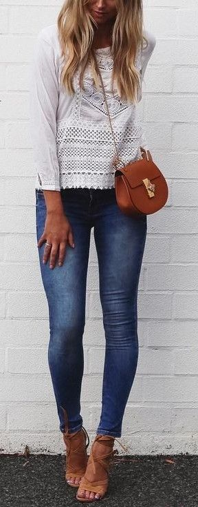 White Lace + Denim @roressclothes closet ideas #women fashion outfit #clothing style apparel