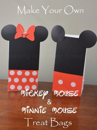 Make Your Own Mickey Mouse & Minnie Mouse Treat Bags - a fun DIY party favor for a birthday.