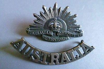 Badge- australian #military force commonwealth badge & shoulder #title #(bronze),  View more on the LINK: http://www.zeppy.io/product/gb/2/322395009150/