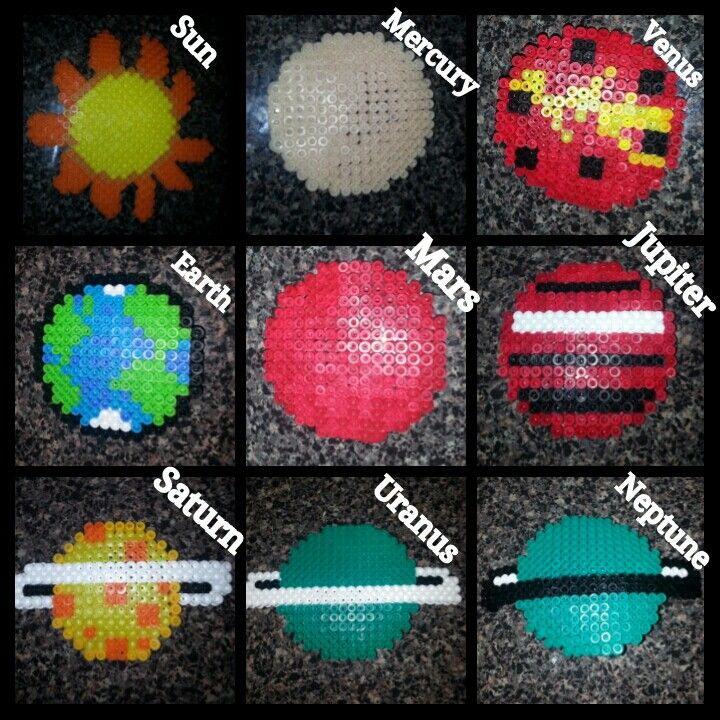Solar system planets (perler beads)