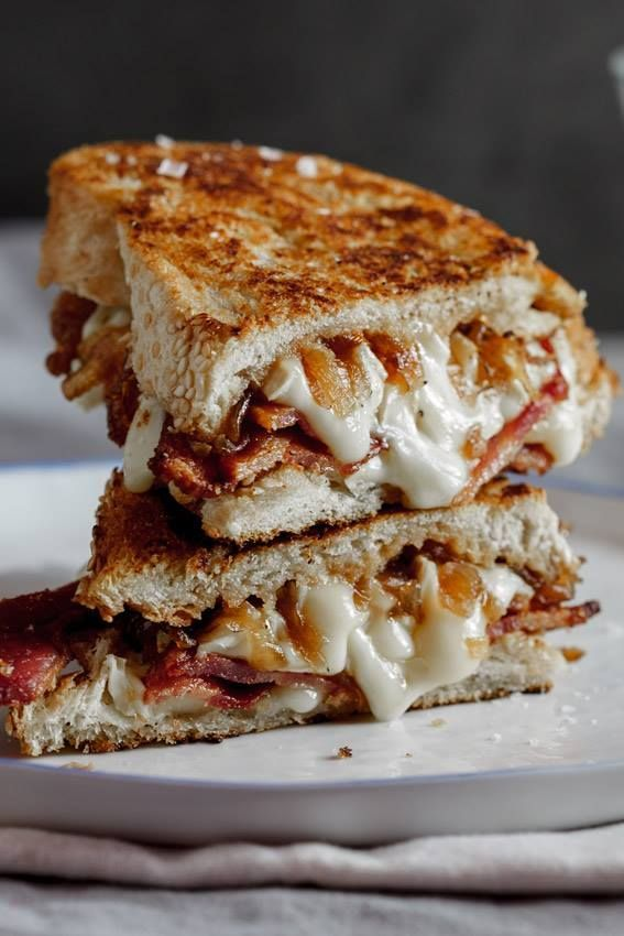 Bacon & Brie Grilled Cheese. Good idea, but brie is too mild and onions too sweet. Used wegmans garlic tuscan bread.
