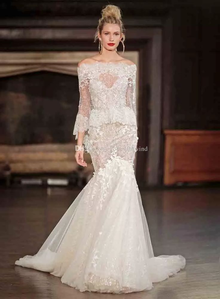 2017 Berta Bridal Long Sleeve Wedding Dresses Fit And Flare Off The Shoulder Low Back Wedding Gowns Best Wedding Dresses Bridal Wear From Gonewithwind, $1005.03| Dhgate.Com