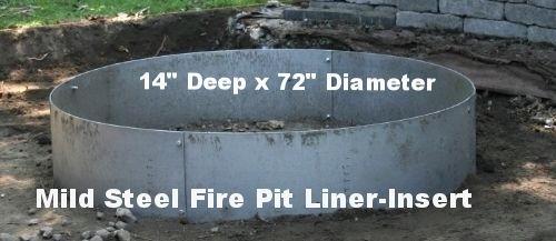 """Steel Fire Pit Liner Metal Insert www.HigleyFirePits.com Builder of mild steel fire pit liners,inserts,campfire rings. Stock sizes are 8"""" 10"""" 14"""" 16"""" Deep x 24"""" 36"""" 40"""" 45"""" 60"""" diameter. We can make any custom size in about 7-10 working days. We ship UPS. We ship to Canada."""