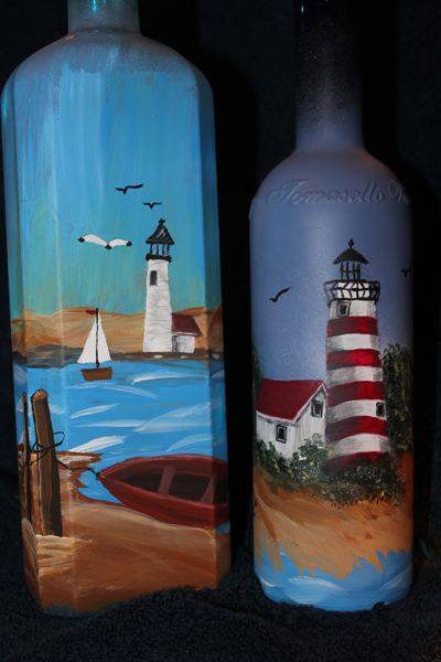Creations Our Way – Painted Lighted Bottles