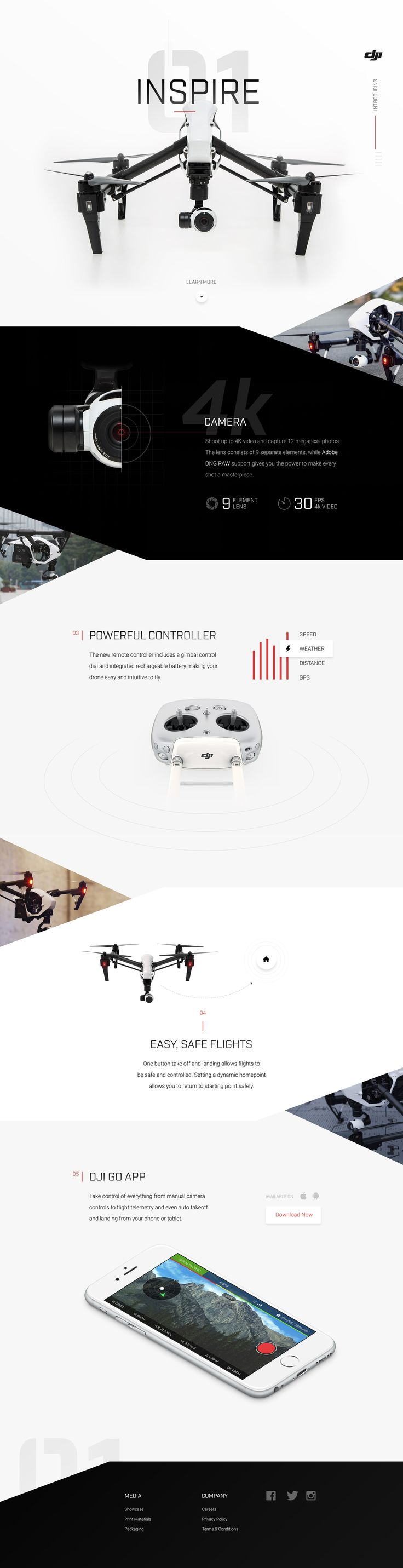 Ui design concept for the Inspire 1 Drone marketing page, by Sam Thibault @handsome.is