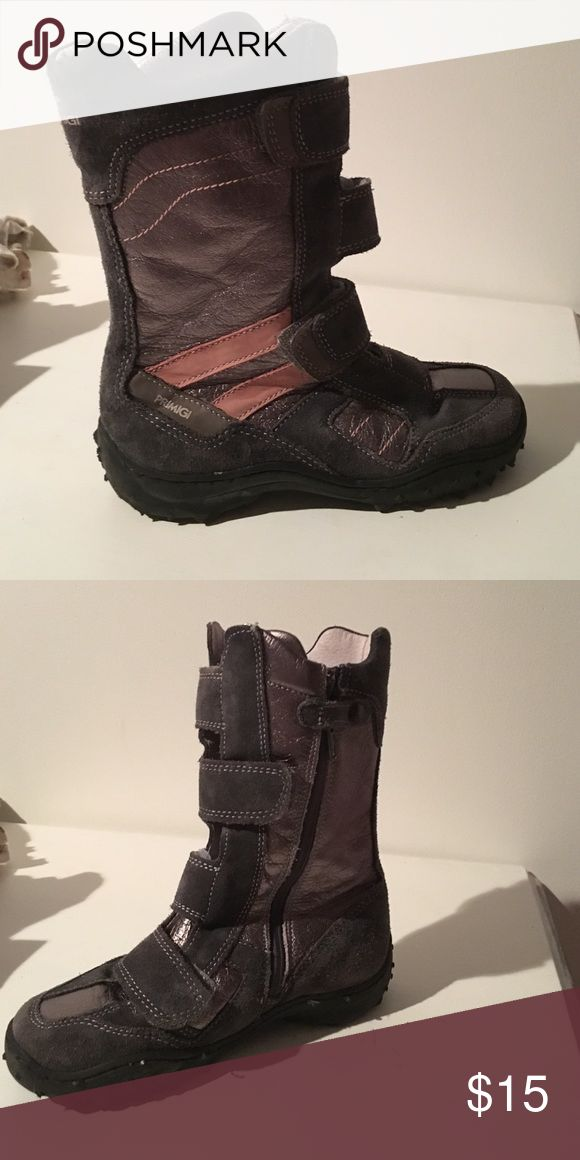 Boots Very cute with pink and silver, Velcro straps make them easy to put on also has zipper on inside Primigi Shoes Boots