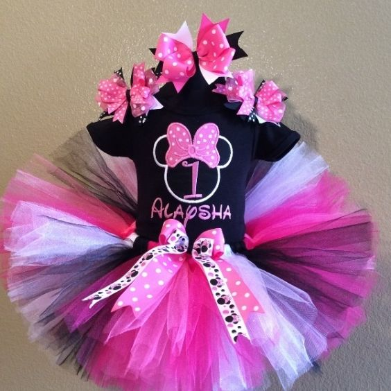 Black Hot Pink Minnie Mouse 1st Birthday Tutu Outfit