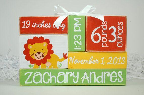 Jungle Lion Custom Baby Birth Stats Nursery by WoodenBlock on Etsy, $17.00