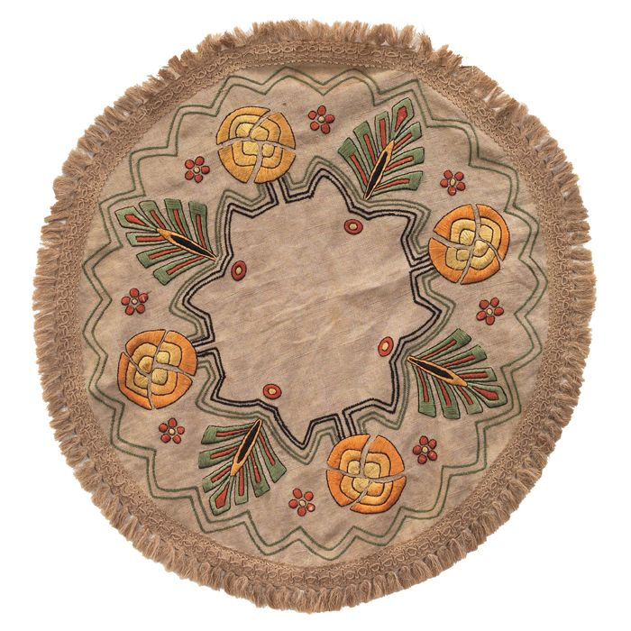 "Arts and Crafts linen, circular linen with geometric embroidered florals, 33""dia"