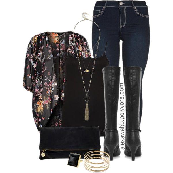 "#plus #size #outfit ""Plus Size - Fall Kimono"" by alexawebb on Polyvore @alexandrawebb"