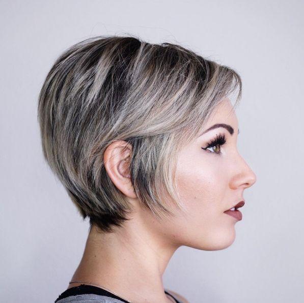 Chloe Brown long pixie asymmetrical hair side profile