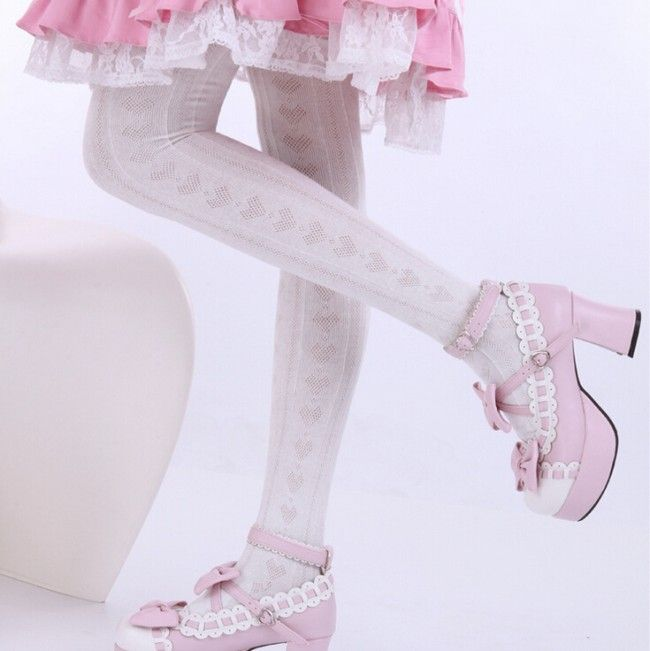 Sweet Hollow Design Above Knees Lolita Socks