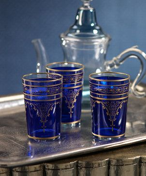Moroccan Tea Glass- Fes / Blue - transitional - cups and glassware - Bliss Home & Design