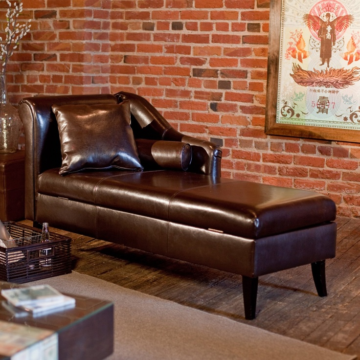 Leather Chaise Lounge With Storage.
