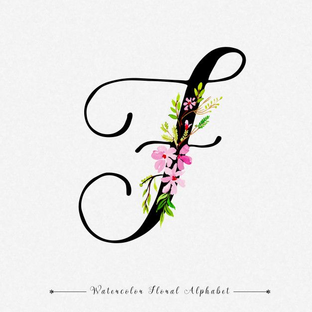 Letter F Watercolor Floral Background In 2020 F Tattoo Letter F