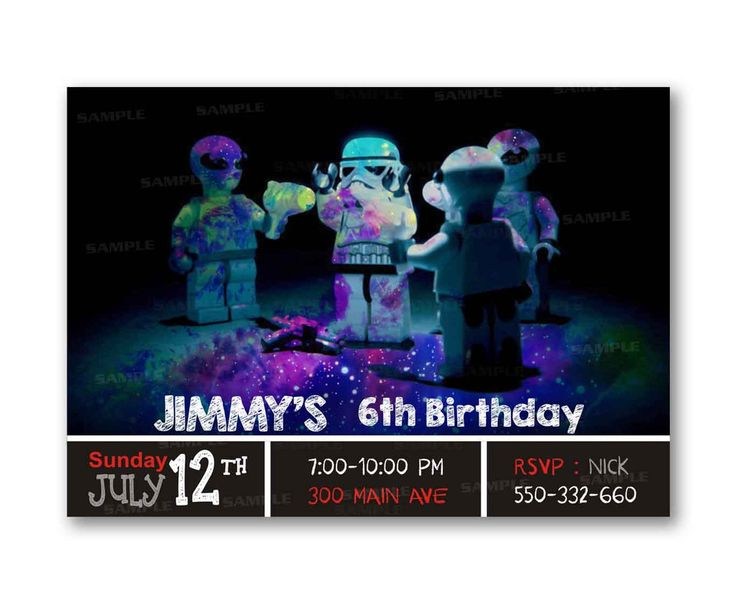 Alien Galaxy Wars Night Kids Birthday Invitation Party Design