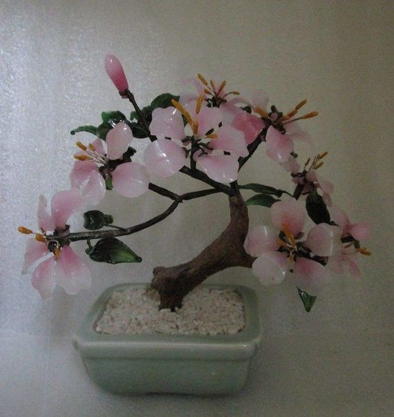 Vintage Chinese Export Pink Glass Bonsai Magnolia Tree Celadon W Sticker C 1970 Pink Glass Magnolia Trees Unique Christmas Gifts