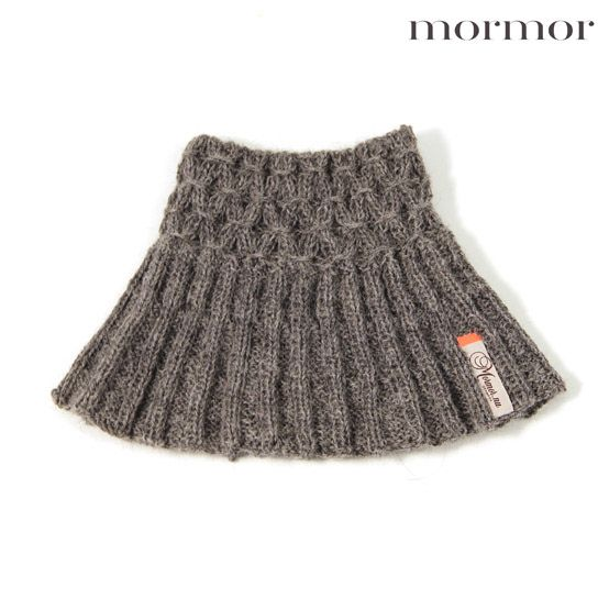mormor.nu Neckwarmer Smock grey brown heather offwhite. High quality knitwear for children. Danish design made in Denmark #babyclothing #kidsclothing #warmclothes #softknit #Alpaca