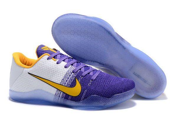 Nike Flyknit Kobe 11 Shoes Yellow Purple White Australia