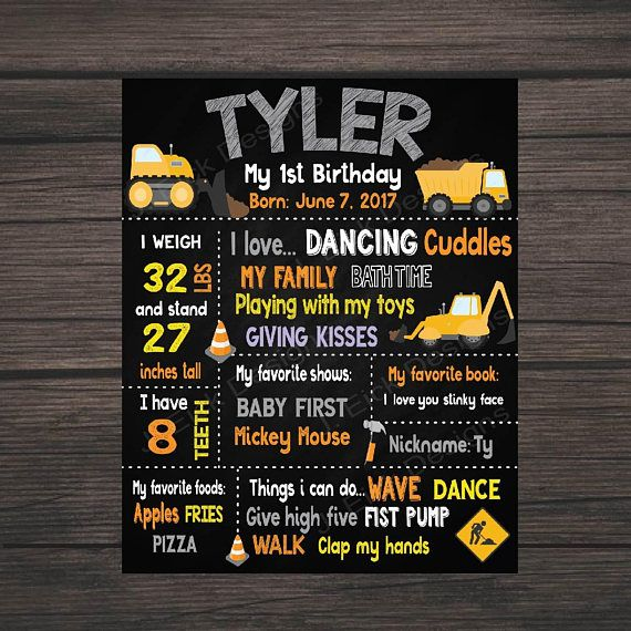 Construction Birthday Party Chalkboard Poster Printable