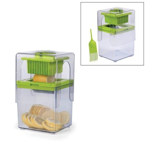 Tower Fruit and Vegetable Slicer by MaxiAids. $18.95. Measures 6 5 in H x 5 5 in L x 5 in W. Includes lid cleaning tool. Large 6 cup 1 4 liter capacity container. Dishwasher safe. Cuts 11 slices in one swift motion. With the Tower Fruit and Vegetable Slicer, you will be able to quickly and easily slice fruits and vegetables directly into its extra-large 6-cup (1.4 liter) capacity container. The V-shaped blades quickly cut 11 slices in one swift motion. Easily ...