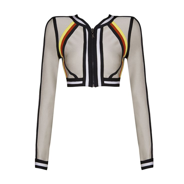Free Shipping 2016 Autumn New Womens Zip Front Nude Bandage Tops Long Sleeve Wholesale Dropshipping