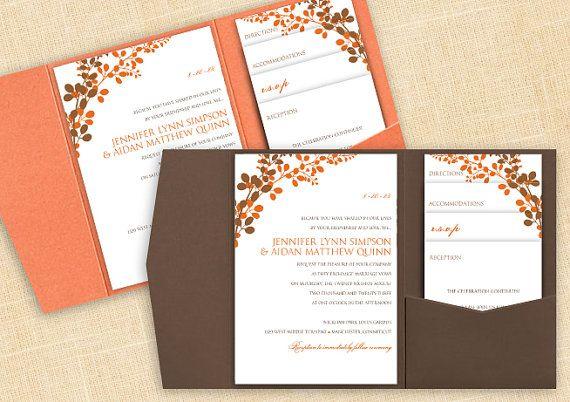 Pocket Wedding Invitation Template Set - DOWNLOAD Instantly - EDITABLE TEXT - Exquisite Vines (Bronze & Orange)  - Microsoft Word Format, $38.00