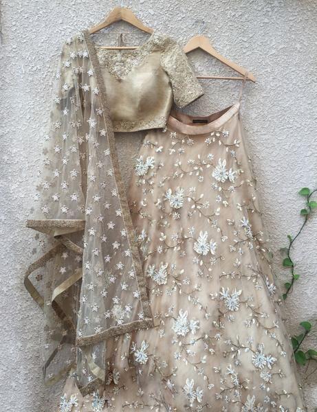 Gold & White Lehenga Set (Raw Silk) #IndianWeddings #IndianFashion