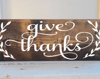 Give Thanks Wood Sign Fall Sign Autumn by sophisticatedhilbily