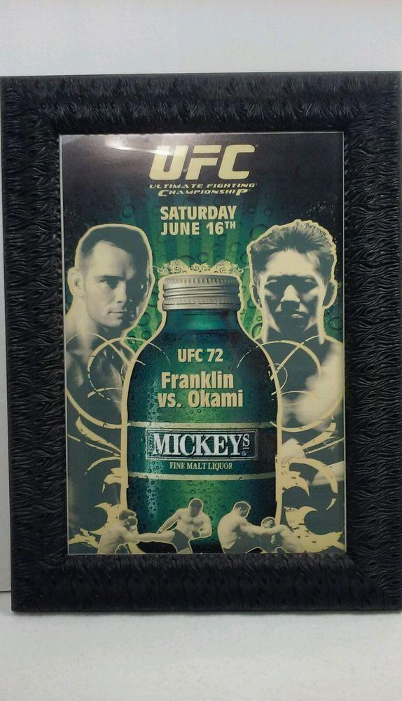 UFC 72 MICKEYS MALT LIQUOR RICH FRANKLIN VS OKAMI FULL SZ POSTER FRAMED