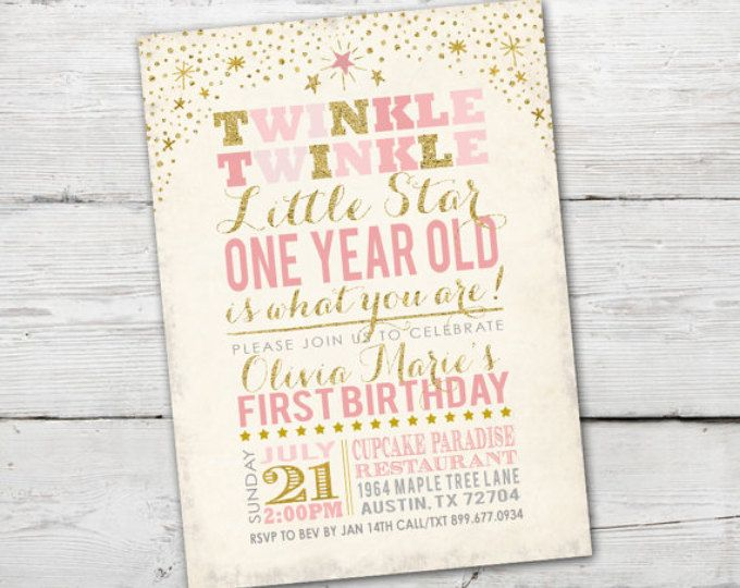 Twinkle Twinkle Little Star First Birthday Invitation, Twinkle Twinkle Little Star Invitation, Pink and Gold invitation, Digital File