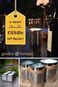 DIY Citronella Candles More Diy Ideas, Thrifty Diy, Crafts Ideas, Diy Citronella, Citronella Candles, Gifts Ideas, Diy Gifts, Diy Projects, Candles Projects A Thrifty DIY Citronella Candle Project 14 Totally Organic DIY Projects to Get Rid of Pests Safely and Naturally Check more at http://blog.blackboxs.ru/category/garden/