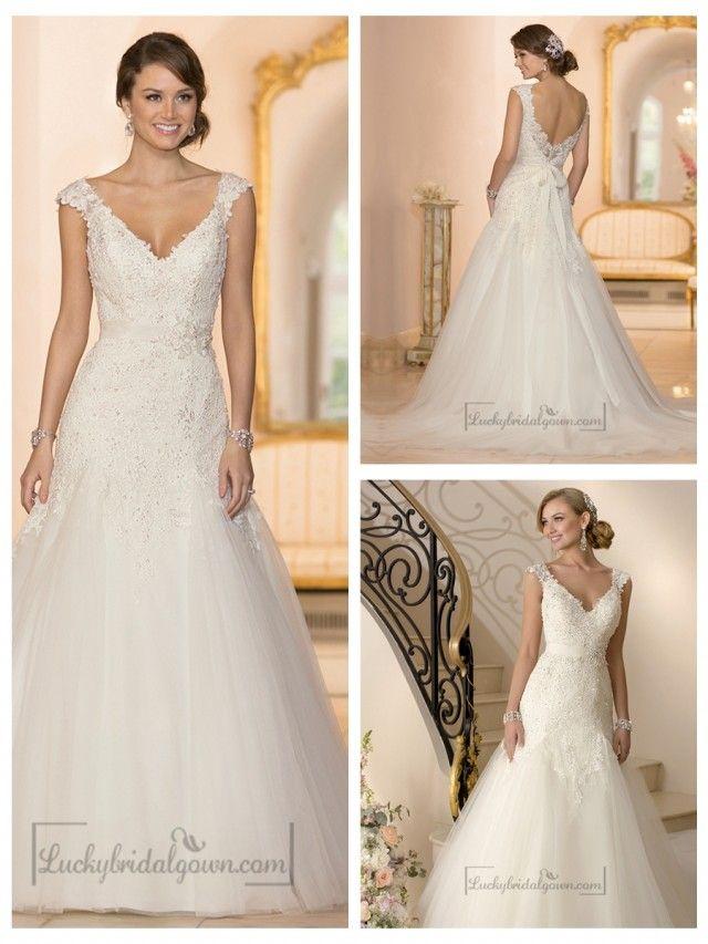 Cap Sleeves V-neck A-line Lace Beaded Deep V-back Wedding Dresses