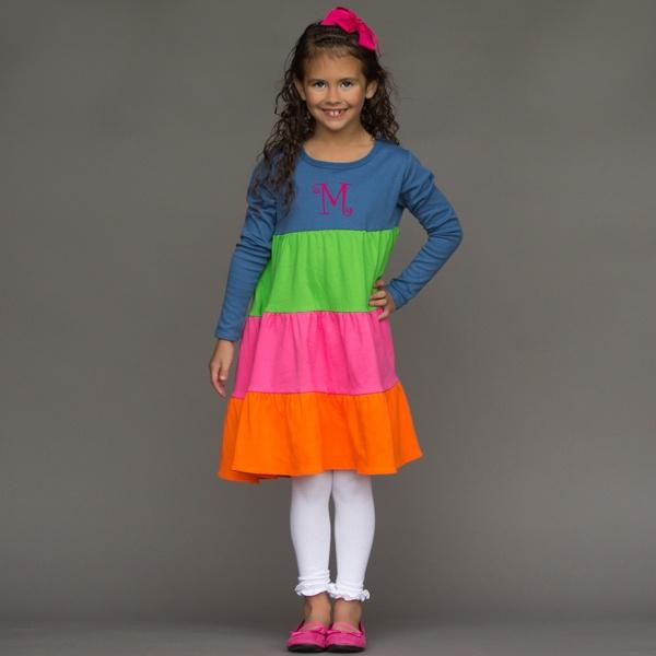 Blue Apple Hot Pink Orange Tier Cotton Dress 11/5