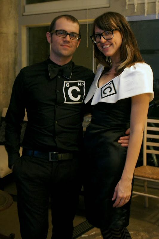 """Carbon Dating"".. definitely my favorite couples costume ever. You sweet little radioactive isotope you.."