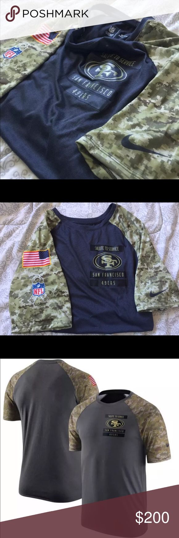 """New San Francisco 49ers salute to service shirt Show your patriotism on your sleeve this football season with the Nike® Salute to Service 2016 Performance T-Shirt. Size small have tags  size L don't  they're new    Tagless collar  Very Thin  Screen-Printed, Military-Inspired Graphics  Team logo, wordmark and STS patch screen-printed on the chest   These shirts have the NFL team logo on the chest of the shirt as well as the words """"Salute to Service"""" right above the logo! They also have the…"""